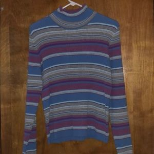 Sweaters - Blue, purple, and gray turtleneck sweater